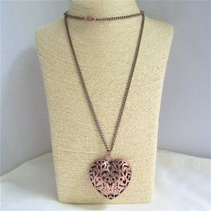 Copper Openwork Puffy Heart Pendant on Curb Chain